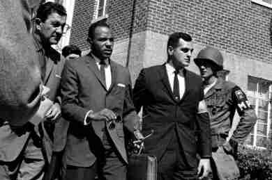 US Marshals Escorting James Meredith into the University of Mississippi While State National Guard Troops Watch